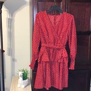 Flirty red & white polka dot dress